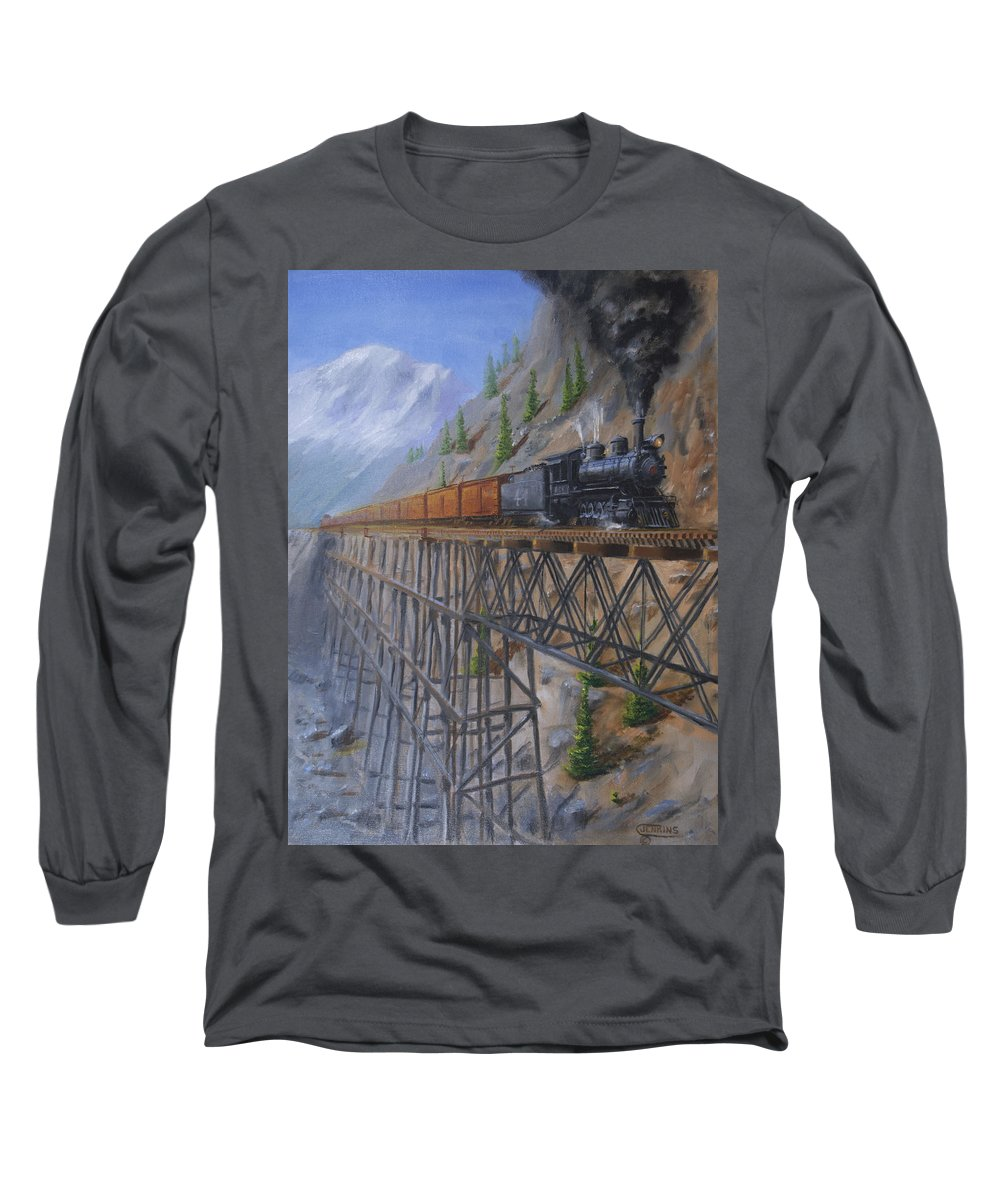 Train Long Sleeve T-Shirt featuring the painting On The High Line by Christopher Jenkins