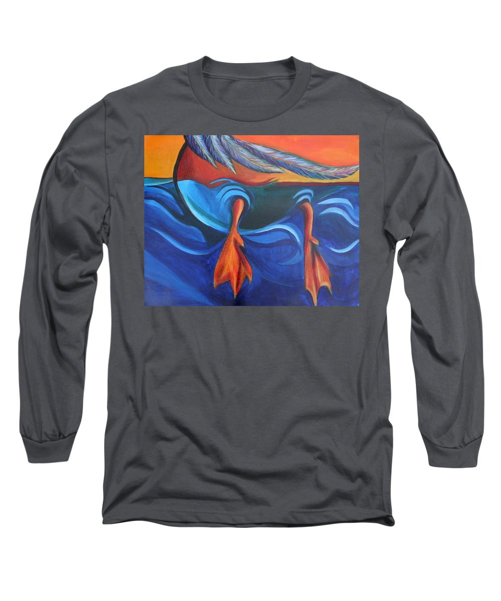 Long Sleeve T-Shirt featuring the painting Sitting Duck by Kate Fortin