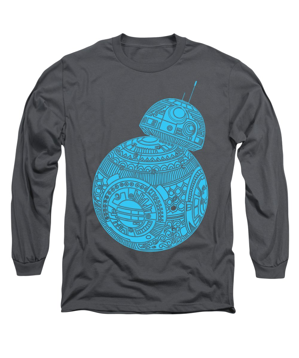 Bb8 Long Sleeve T-Shirt featuring the mixed media Bb8 Droid - Star Wars Art, Blue by Studio Grafiikka