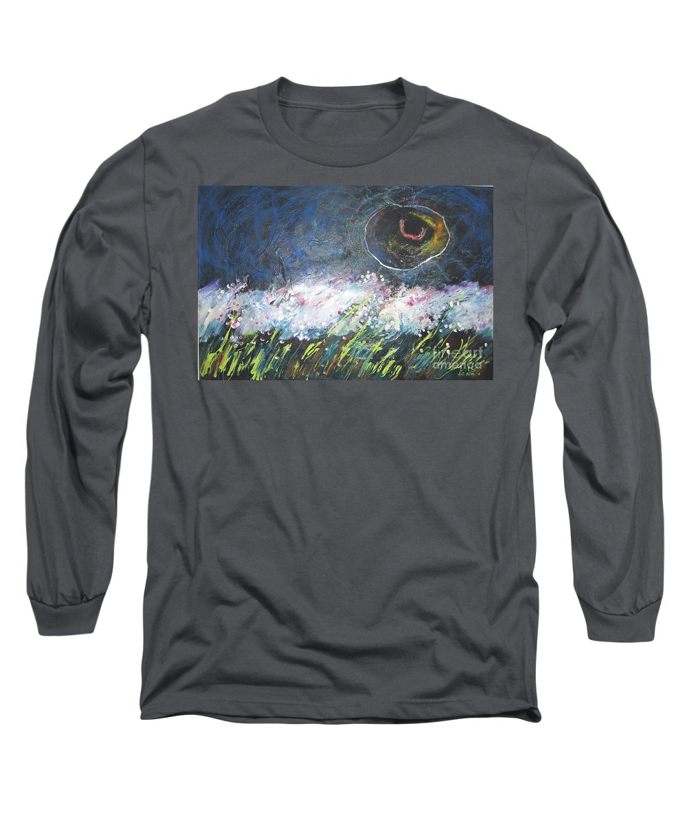 Aabstract Paintings Long Sleeve T-Shirt featuring the painting Buckwheat Field by Seon-Jeong Kim