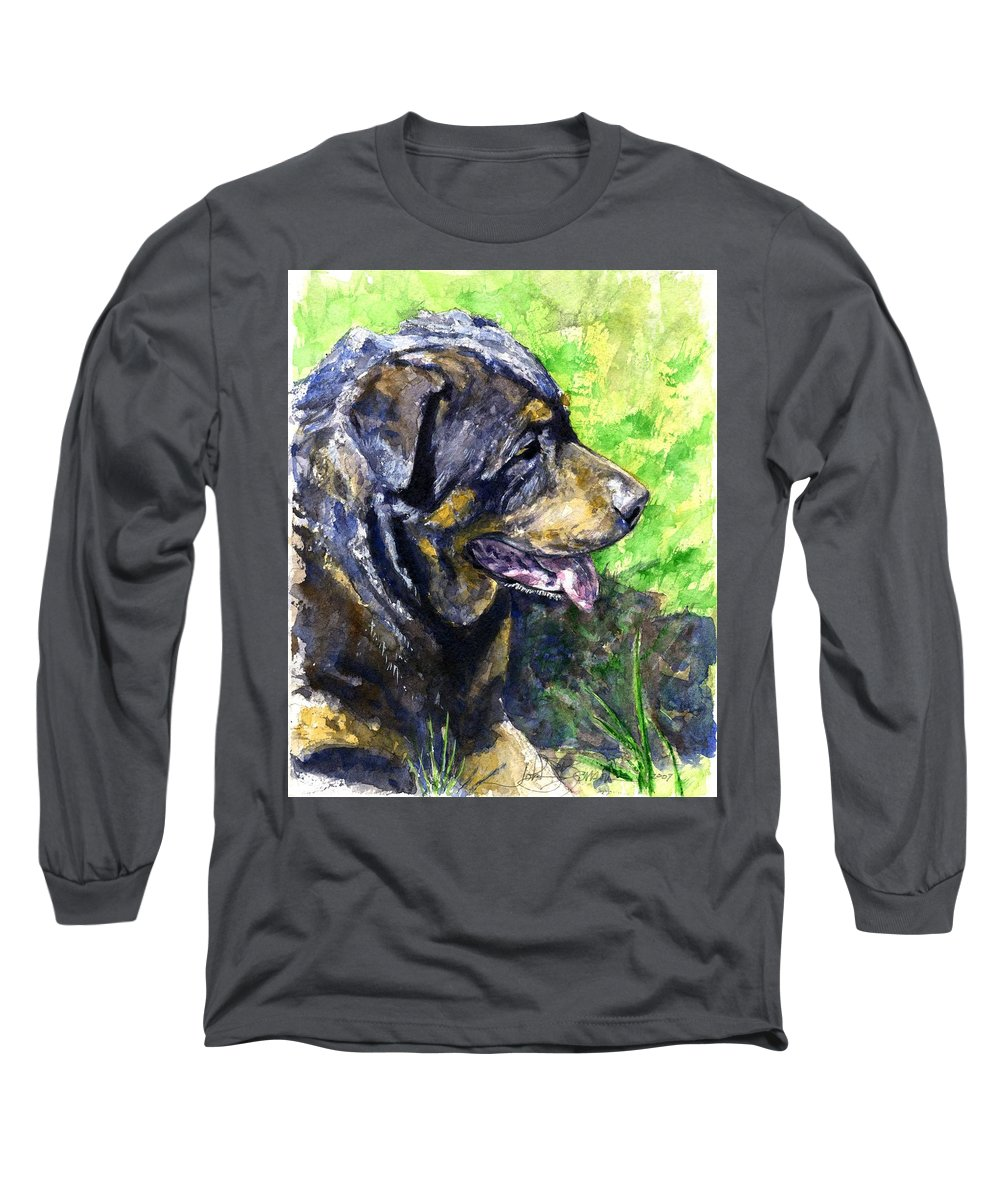 Rottweiler Long Sleeve T-Shirt featuring the painting Chaos by John D Benson