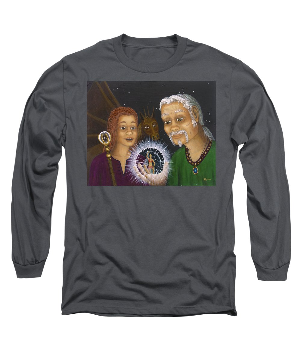 Fantasy Long Sleeve T-Shirt featuring the painting Crystal Ball by Roz Eve