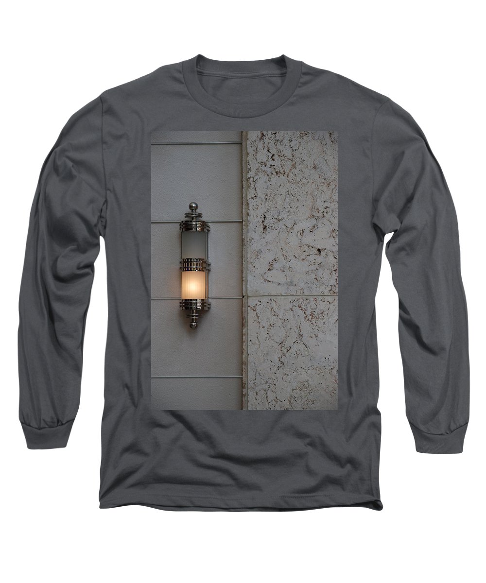 Sconce Long Sleeve T-Shirt featuring the photograph Half Lit Wall Sconce by Rob Hans