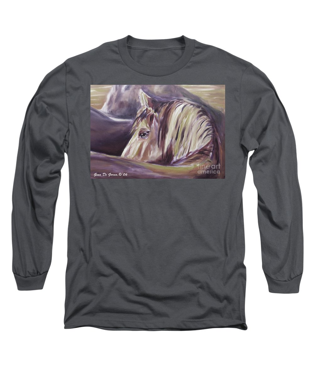 Brown Long Sleeve T-Shirt featuring the painting Horse World Detail by Gina De Gorna