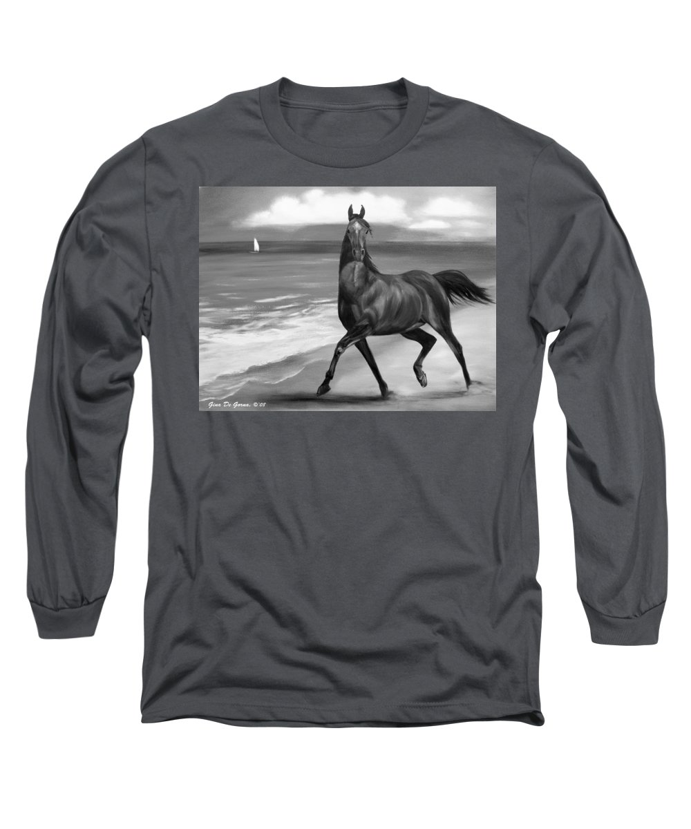 Horses Long Sleeve T-Shirt featuring the painting Horses In Paradise Dance by Gina De Gorna