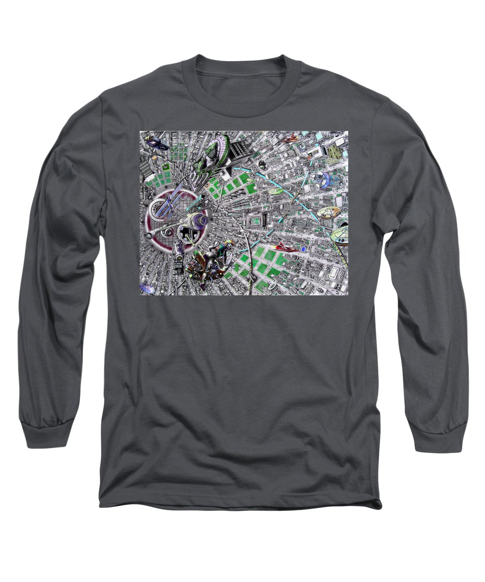 Landscape Long Sleeve T-Shirt featuring the drawing Inside Orbital City by Murphy Elliott