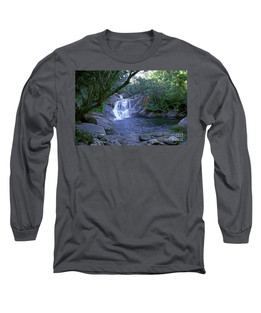 Tropical Long Sleeve T-Shirt featuring the photograph Josephine Falls And Tropical Pool by Kerryn Madsen- Pietsch