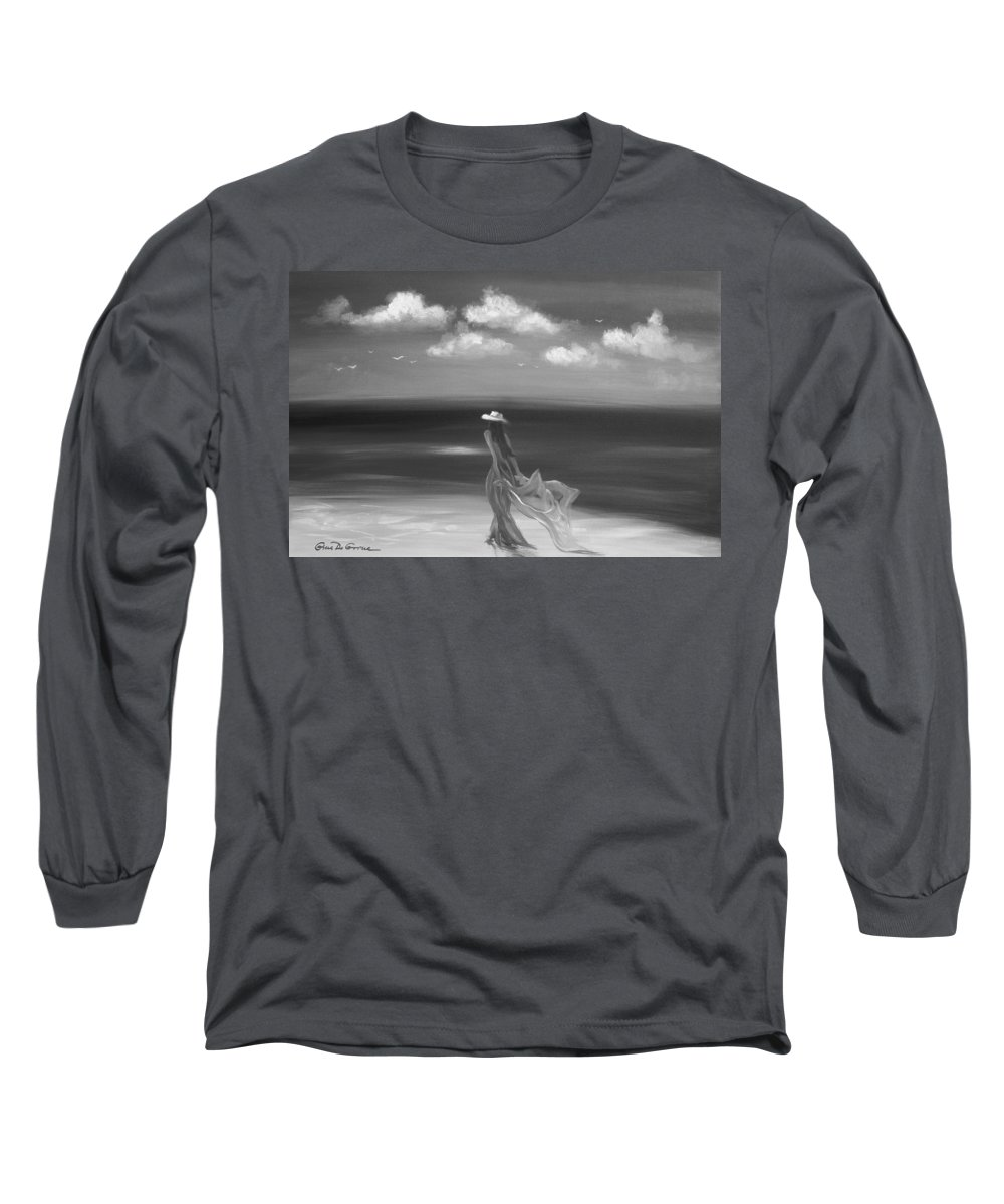 Original Long Sleeve T-Shirt featuring the painting Lady In Red by Gina De Gorna