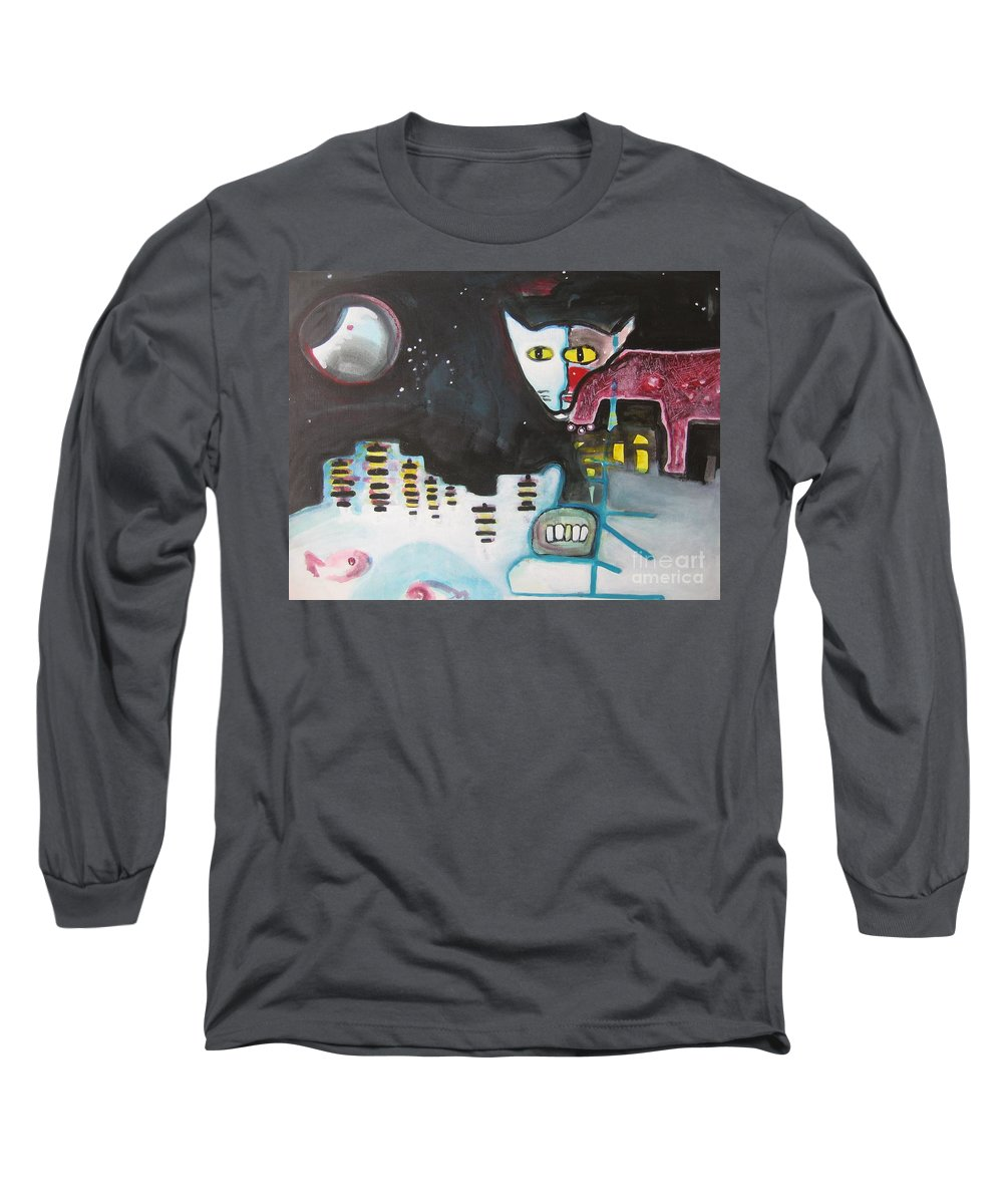 Cat Paintings Long Sleeve T-Shirt featuring the painting Let Me Out3 by Seon-Jeong Kim