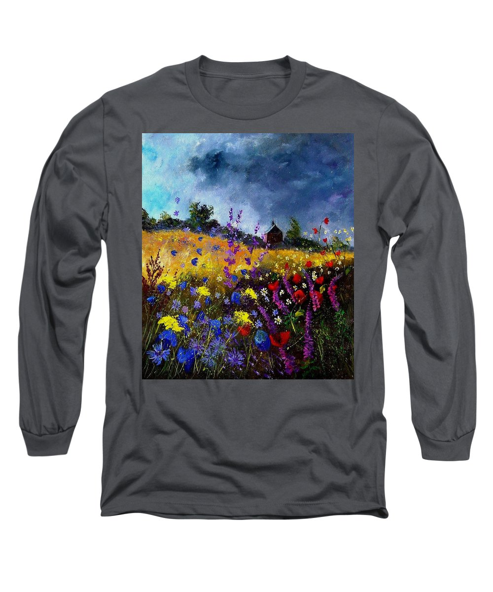 Flowers Long Sleeve T-Shirt featuring the painting Old Chapel And Flowers by Pol Ledent