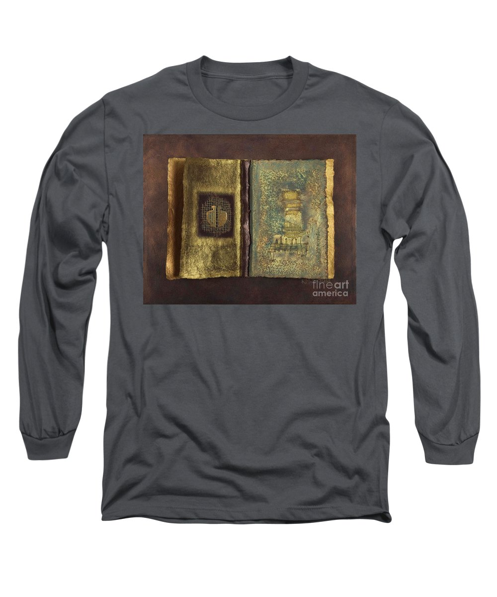 Artist-book Long Sleeve T-Shirt featuring the mixed media Page Format No 1 Transitional Series by Kerryn Madsen-Pietsch