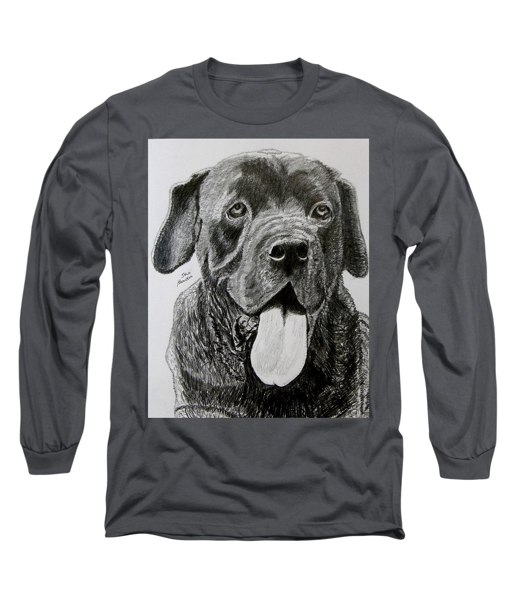 Dog Portrait Long Sleeve T-Shirt featuring the drawing Sampson by Stan Hamilton