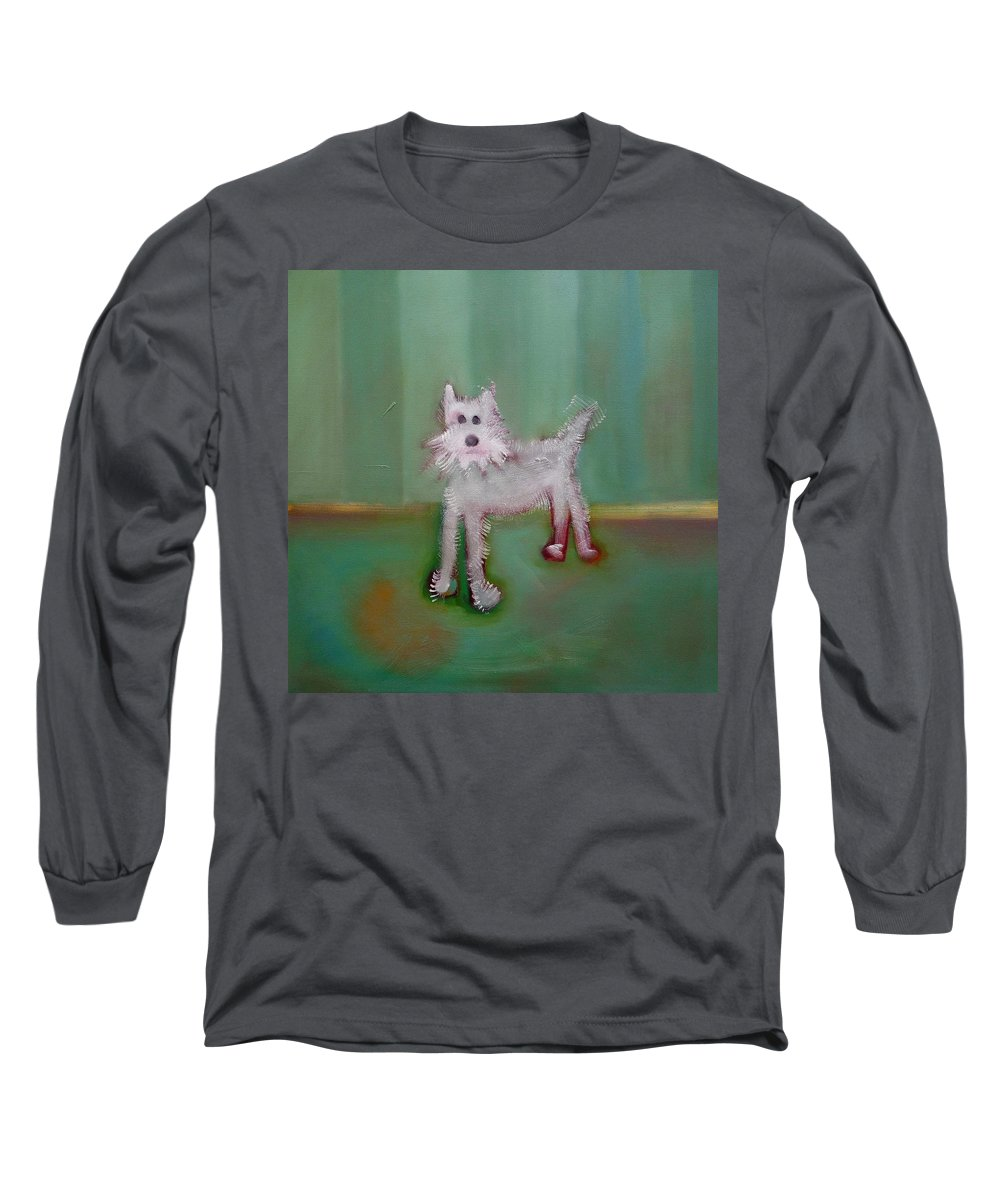 White Puppy Long Sleeve T-Shirt featuring the painting Snowy by Charles Stuart