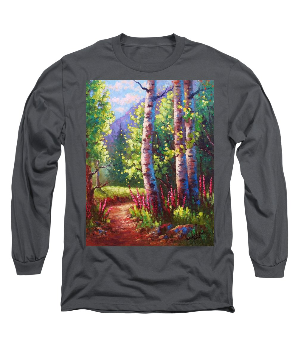 Aspen Long Sleeve T-Shirt featuring the painting Spring Path by David G Paul