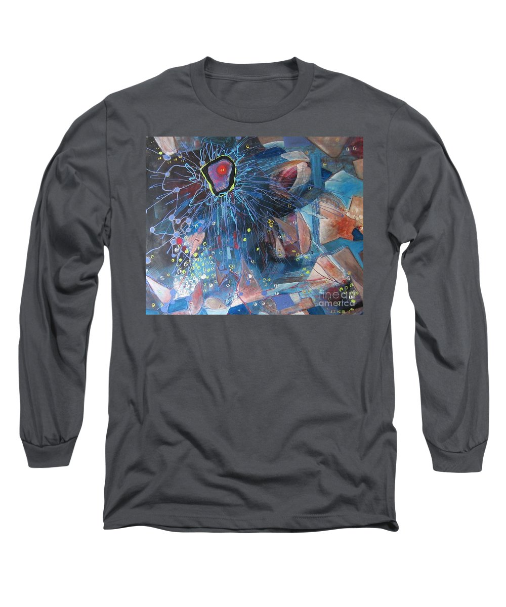 Abstract Paintings Long Sleeve T-Shirt featuring the painting Storm At Sea by Seon-Jeong Kim