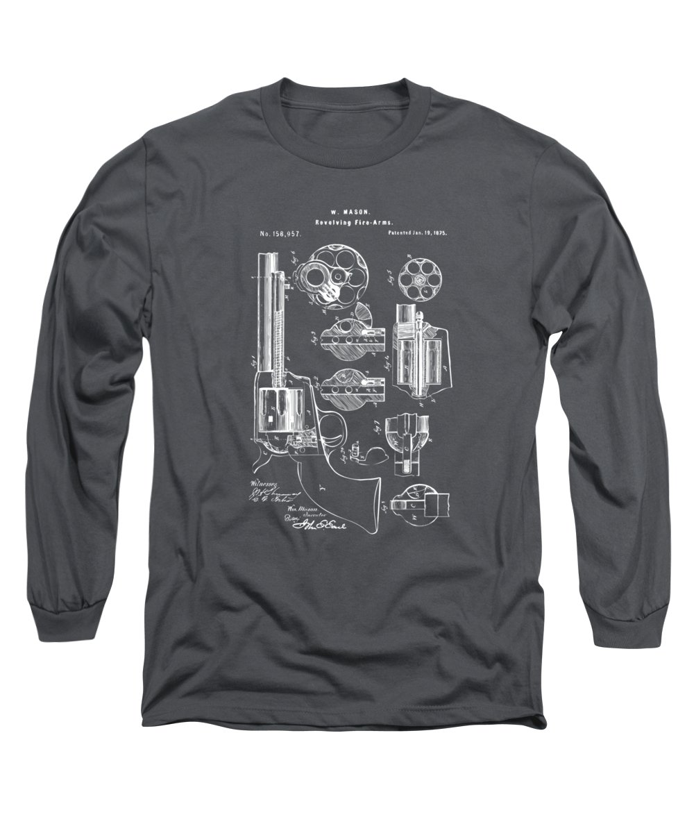 Colt Peacemaker Long Sleeve T-Shirt featuring the digital art 1875 Colt Peacemaker Revolver Patent Artwork - Gray by Nikki Marie Smith