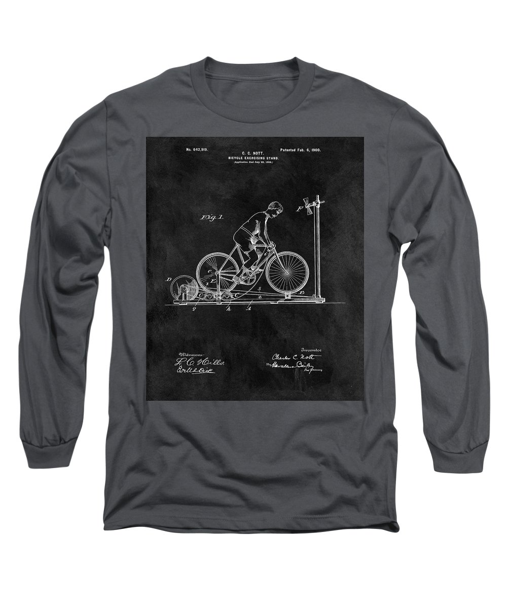 1900 Exercising Bicycle Patent Long Sleeve T-Shirt featuring the drawing 1900 Exercise Bike Patent by Dan Sproul