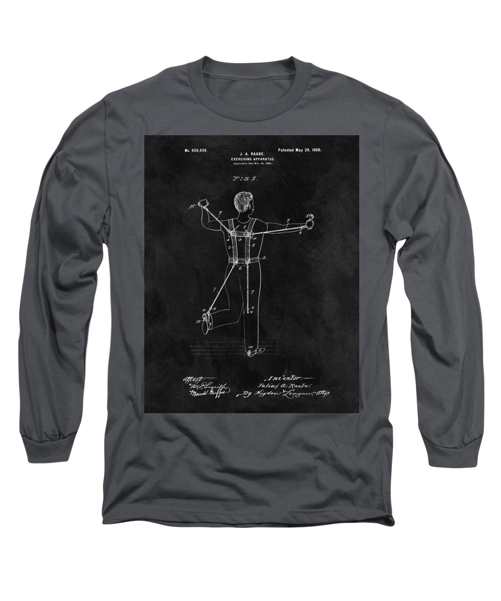 1900 Exercising Machine Patent Long Sleeve T-Shirt featuring the drawing 1900 Exercise Equipment Patent by Dan Sproul