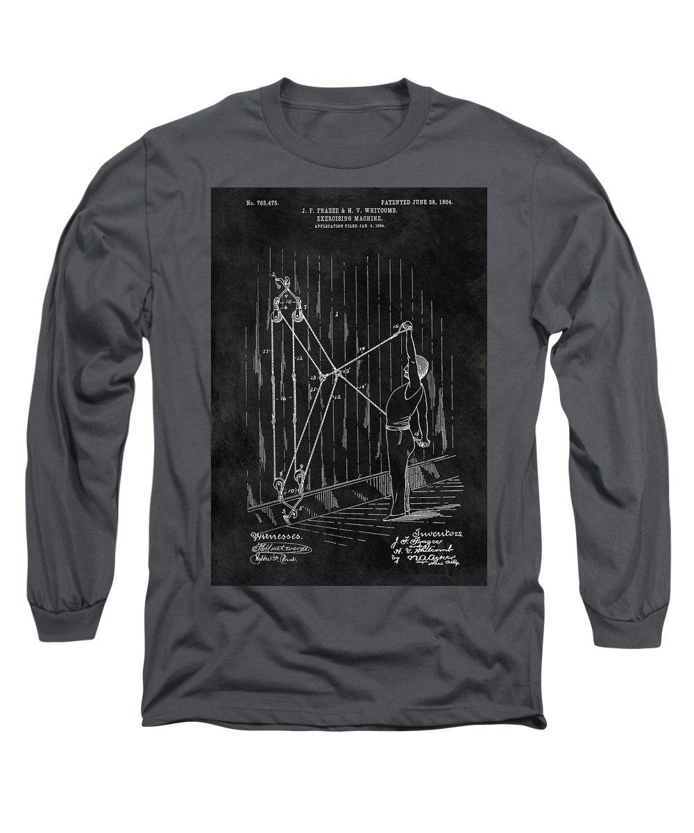 1904 Exercise Apparatus Patent Long Sleeve T-Shirt featuring the drawing 1904 Exercise Apparatus Patent by Dan Sproul