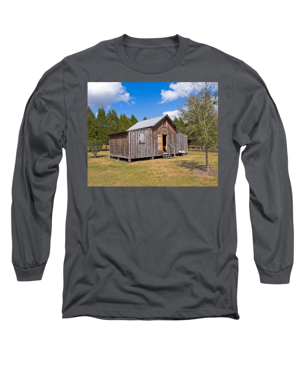 Cabin Long Sleeve T-Shirt featuring the photograph 1905 Florida Wheeler Board And Batten House by Allan Hughes