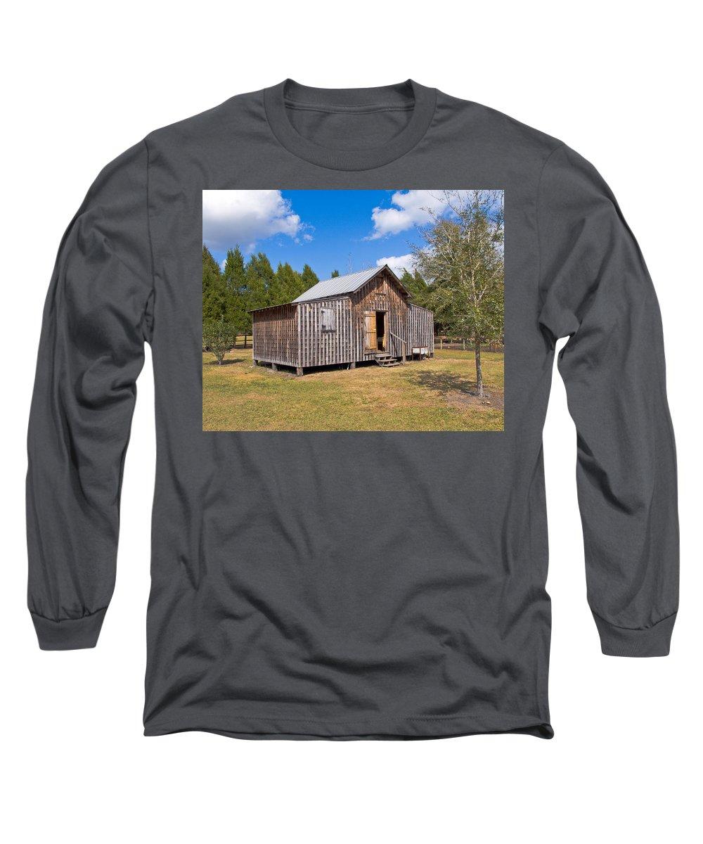 Cabin Long Sleeve T-Shirt featuring the photograph 1905 Florida Wheeler Board And Batten House by Allan Hughes