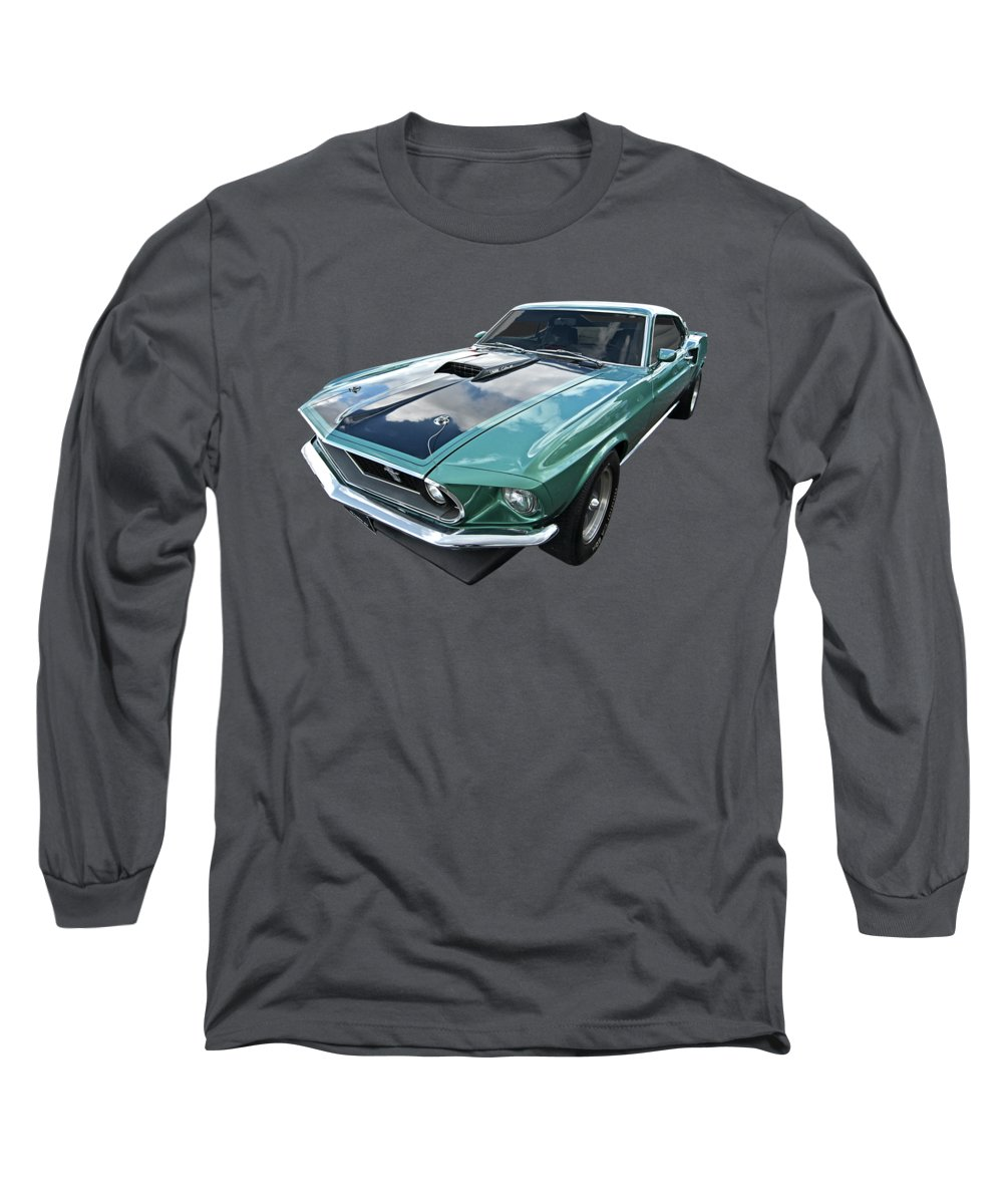 Classic Ford Mustang Long Sleeve T-Shirt featuring the photograph 1969 Green 428 Mach 1 Cobra Jet Ford Mustang by Gill Billington