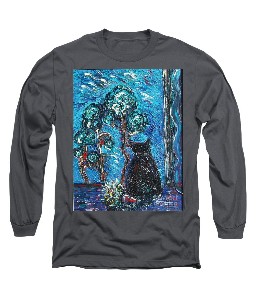 Cat Paintings Long Sleeve T-Shirt featuring the painting A Black Cat by Seon-Jeong Kim