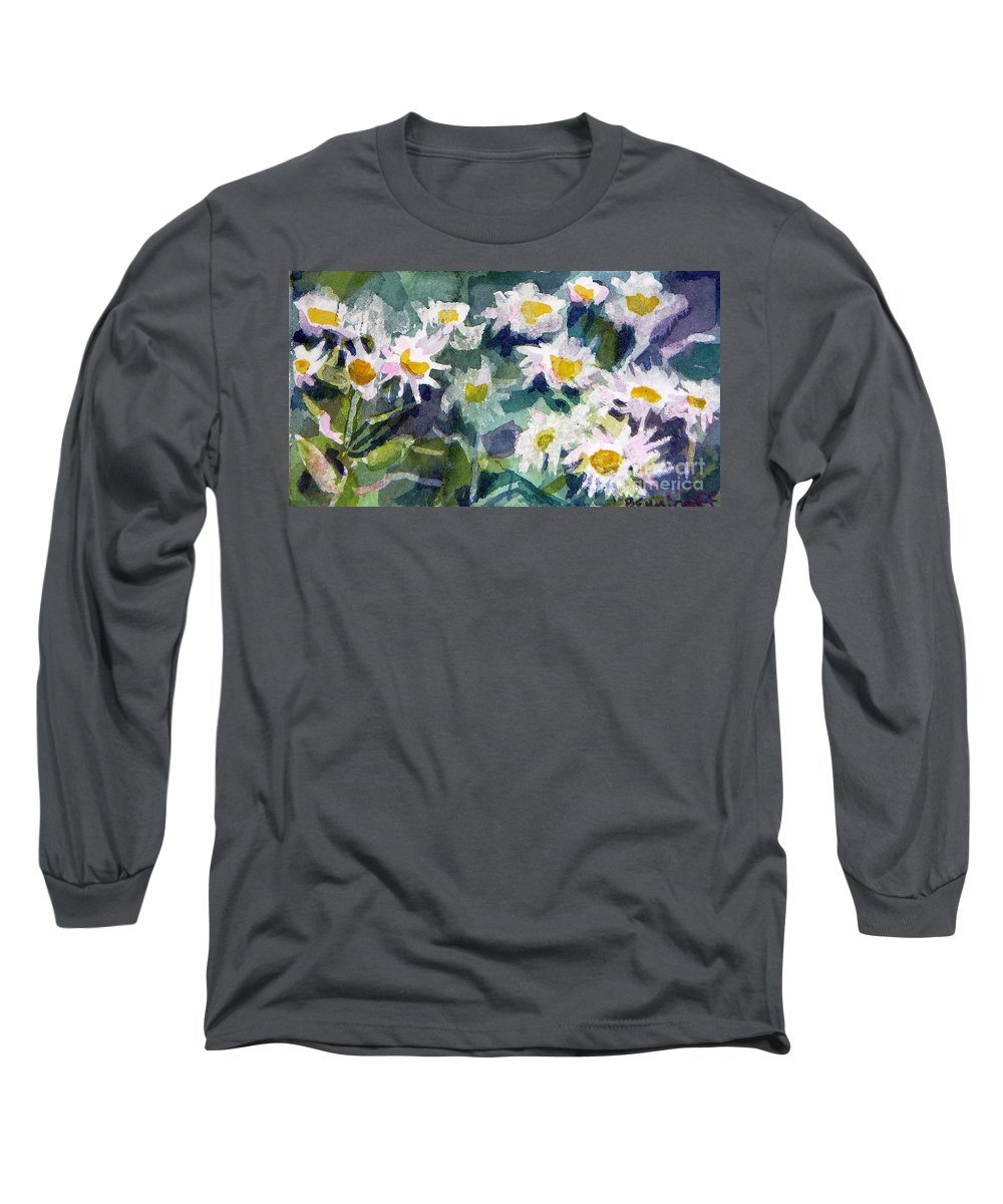 Flowers Long Sleeve T-Shirt featuring the painting Little Asters by Jan Bennicoff