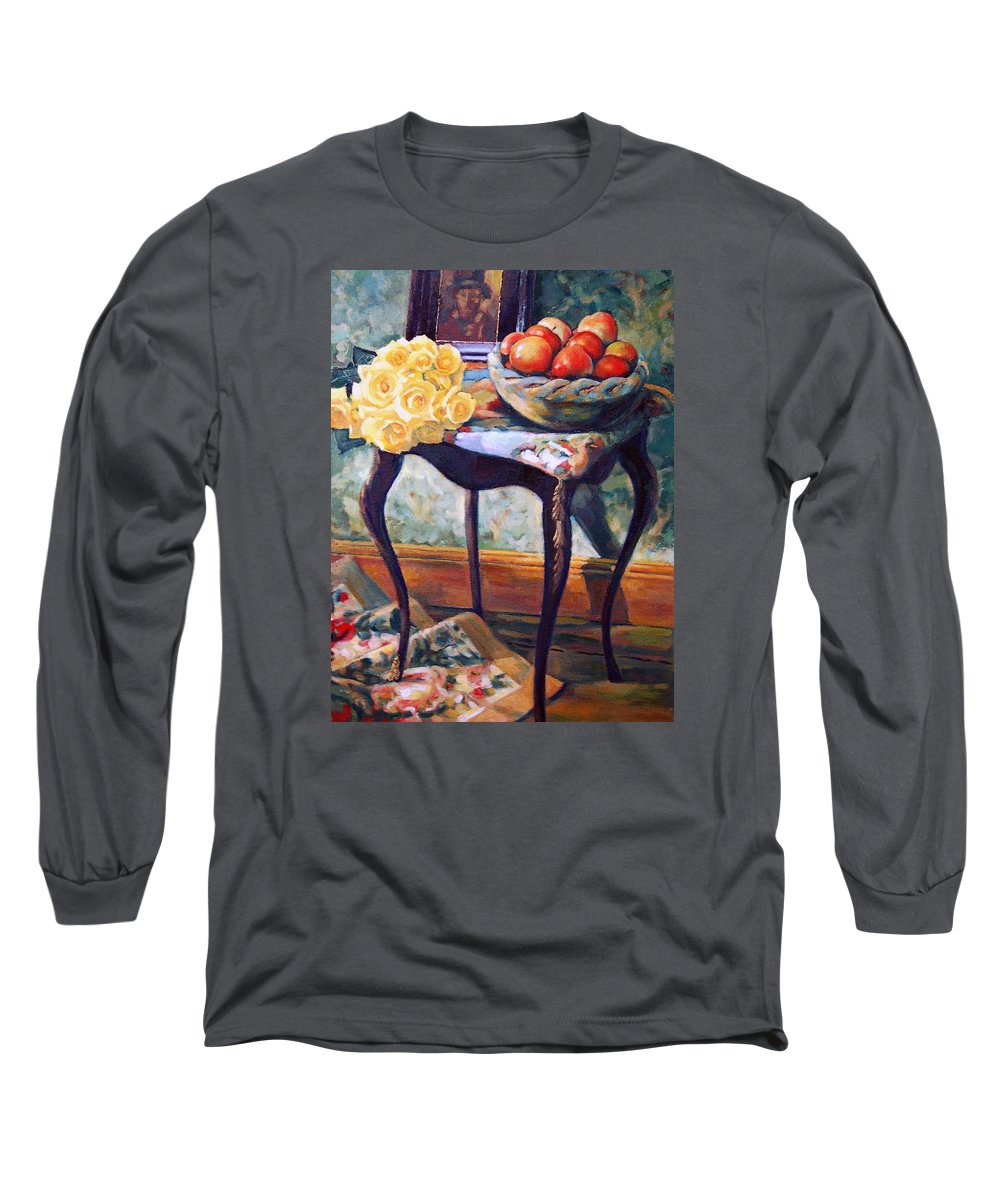 Still Life Long Sleeve T-Shirt featuring the painting Still Life With Roses by Iliyan Bozhanov