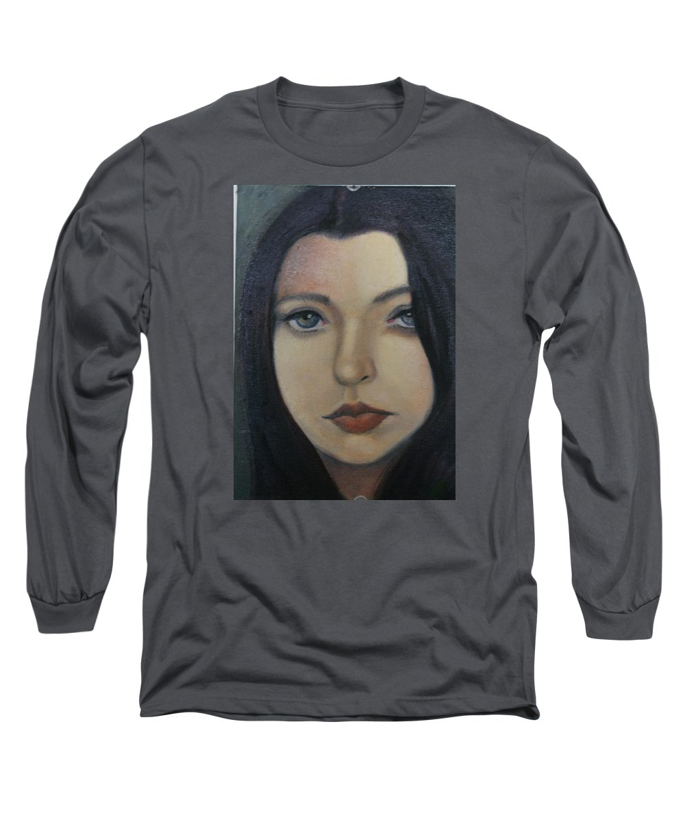 Girl Long Sleeve T-Shirt featuring the painting That Stare by Toni Berry