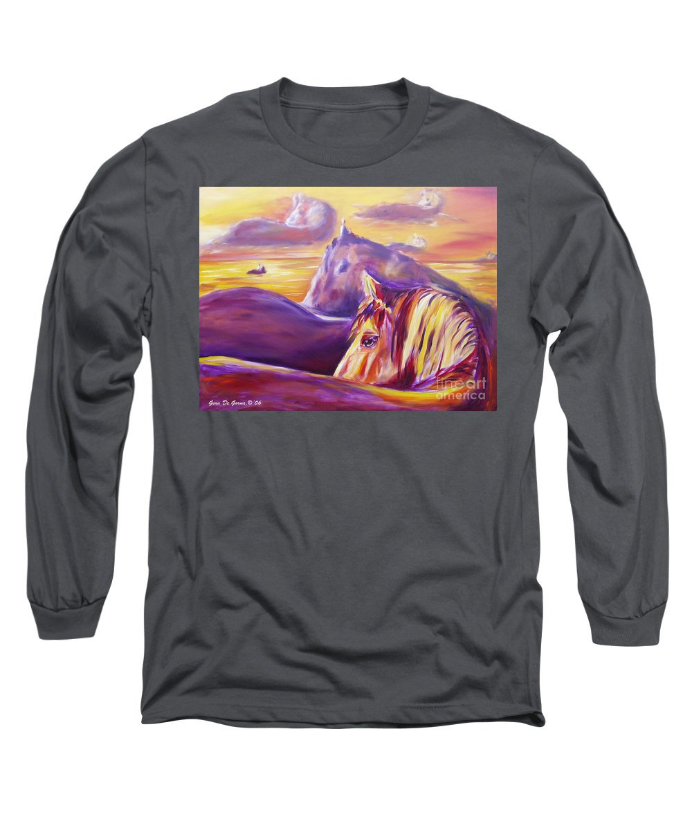 Horses Long Sleeve T-Shirt featuring the painting Horse World by Gina De Gorna