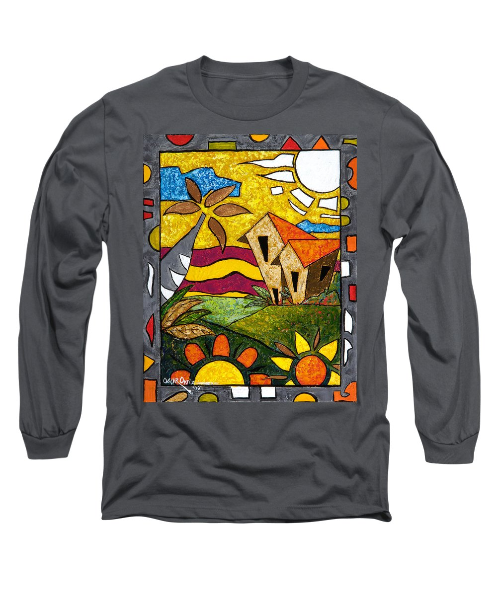 Puerto Rico Long Sleeve T-Shirt featuring the painting A Beautiful Day by Oscar Ortiz