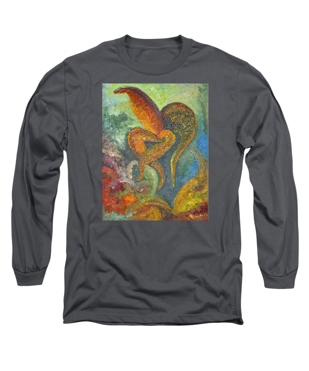 Flower Long Sleeve T-Shirt featuring the painting A Dancing Flower by Karina Ishkhanova