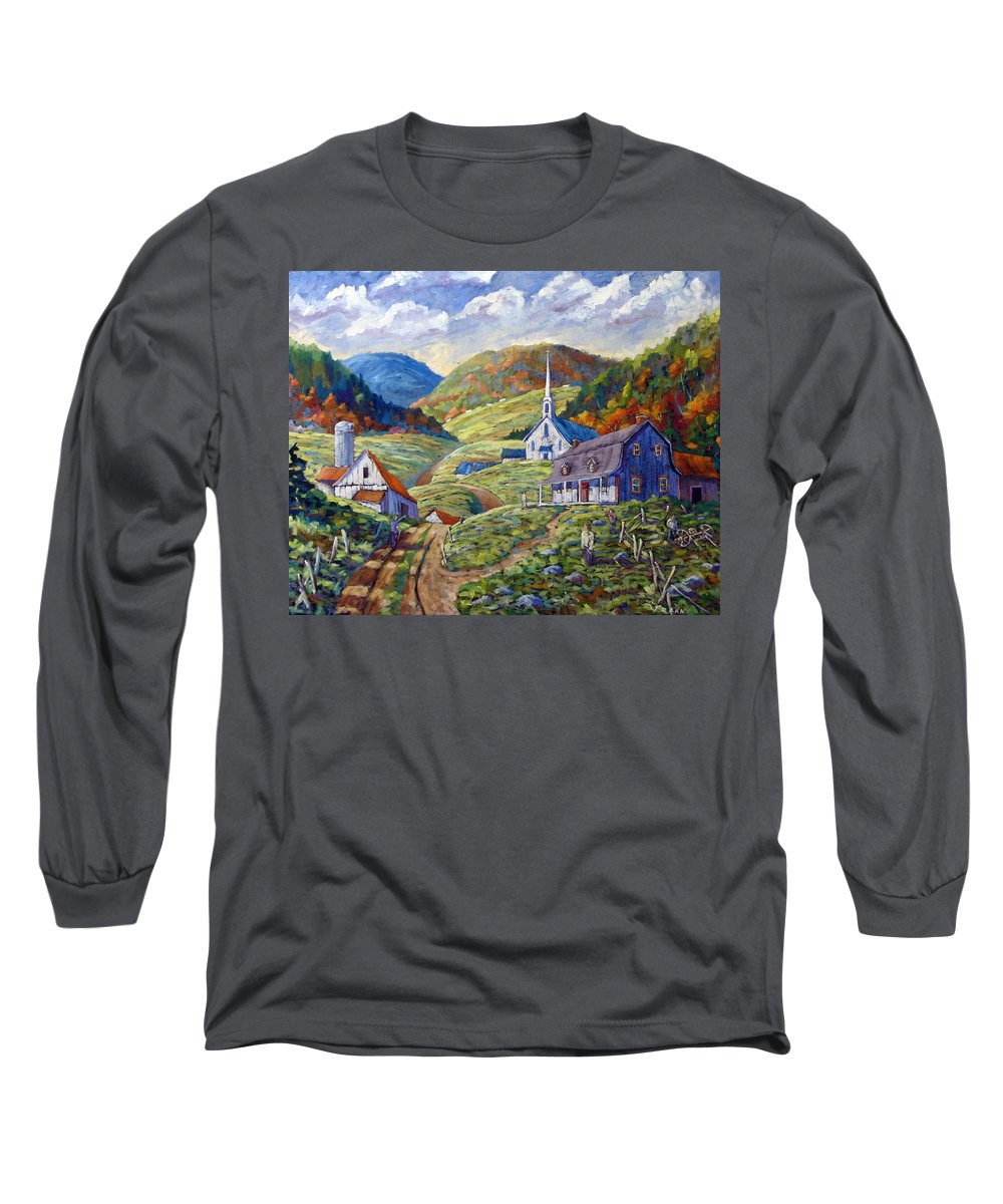 Landscape Long Sleeve T-Shirt featuring the painting A Day In Our Valley by Richard T Pranke