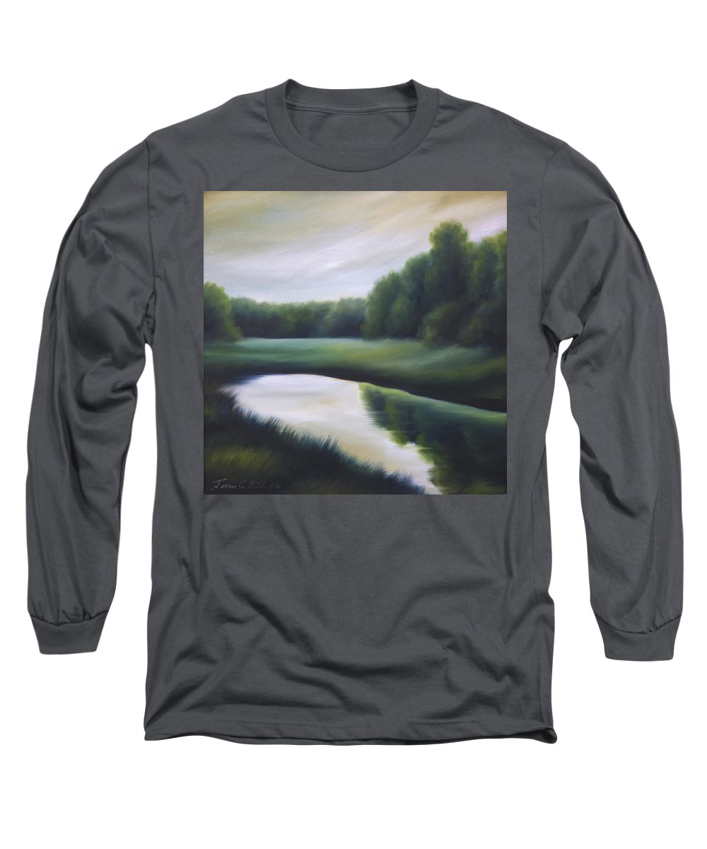 Nature; Lake; Sunset; Sunrise; Serene; Forest; Trees; Water; Ripples; Clearing; Lagoon; James Christopher Hill; Jameshillgallery.com; Foliage; Sky; Realism; Oils; Green; Tree Long Sleeve T-Shirt featuring the painting A Day In The Life 3 by James Christopher Hill