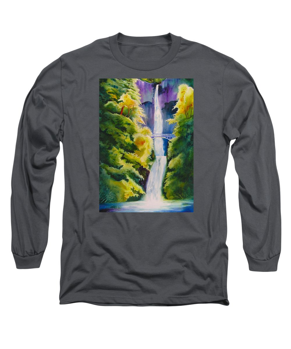 Waterfall Long Sleeve T-Shirt featuring the painting A Favorite Place by Karen Stark