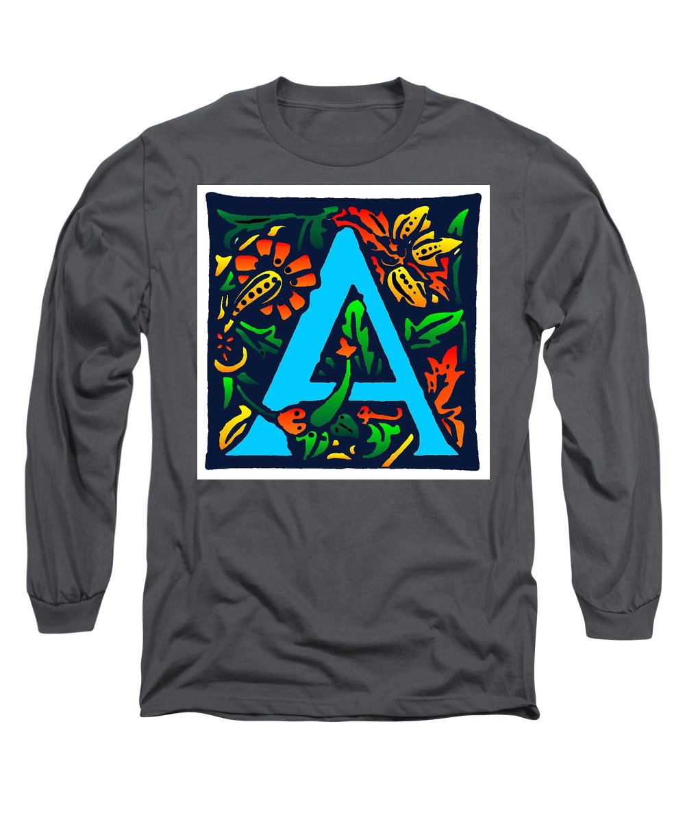 Alphabet Long Sleeve T-Shirt featuring the digital art A In Blue by Kathleen Sepulveda