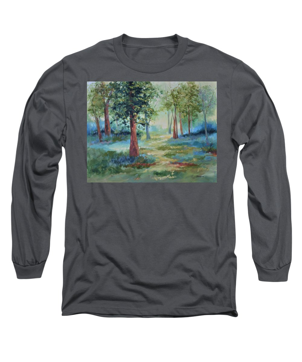 Trees Long Sleeve T-Shirt featuring the painting A Path Not Taken by Ginger Concepcion