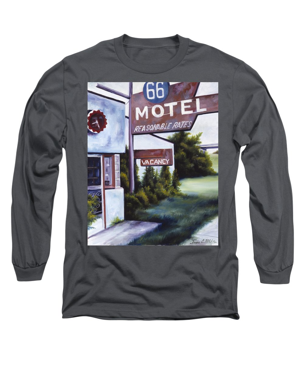 Motel; Route 66; Desert; Abandoned; Delapidated; Lost; Highway; Route 66; Road; Vacancy; Run-down; Building; Old Signage; Nastalgia; Vintage; James Christopher Hill; Jameshillgallery.com; Foliage; Sky; Realism; Oils Long Sleeve T-Shirt featuring the painting A Road Less Traveled by James Christopher Hill