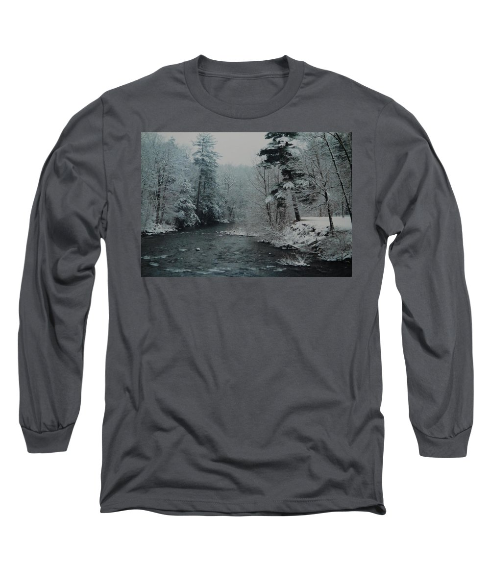 B&w Long Sleeve T-Shirt featuring the photograph A Winter Waterland by Rob Hans
