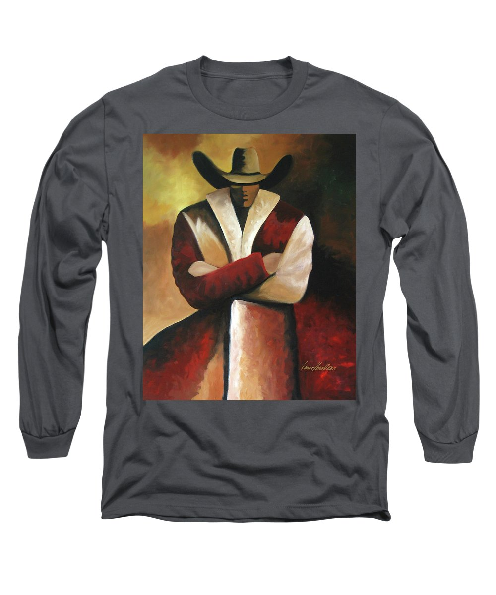 Long Sleeve T-Shirt featuring the painting Abstract Cowboy by Lance Headlee