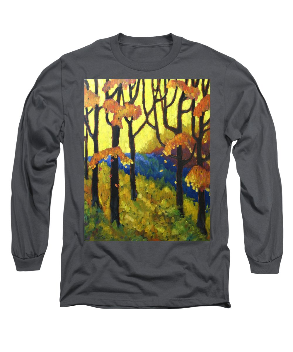 Art Long Sleeve T-Shirt featuring the painting Abstract Forest by Richard T Pranke