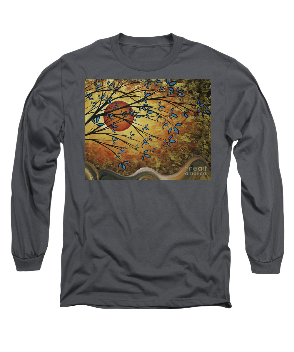 Abstract Long Sleeve T-Shirt featuring the painting Abstract Golden Landscape Art Original Painting Peaceful Awakening I Diptych Set By Megan Duncanson by Megan Duncanson