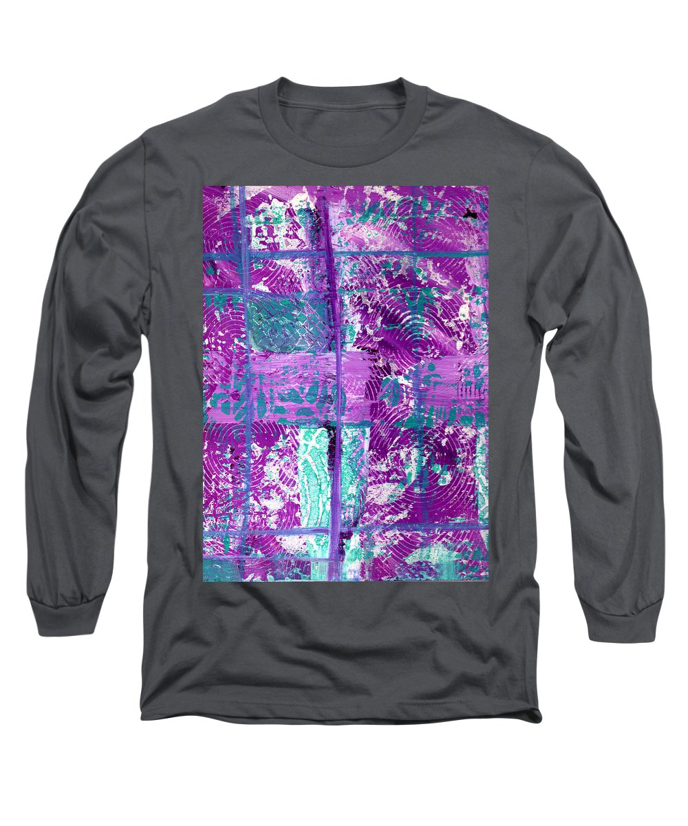 Abstract Long Sleeve T-Shirt featuring the painting Abstract In Purple And Teal by Wayne Potrafka