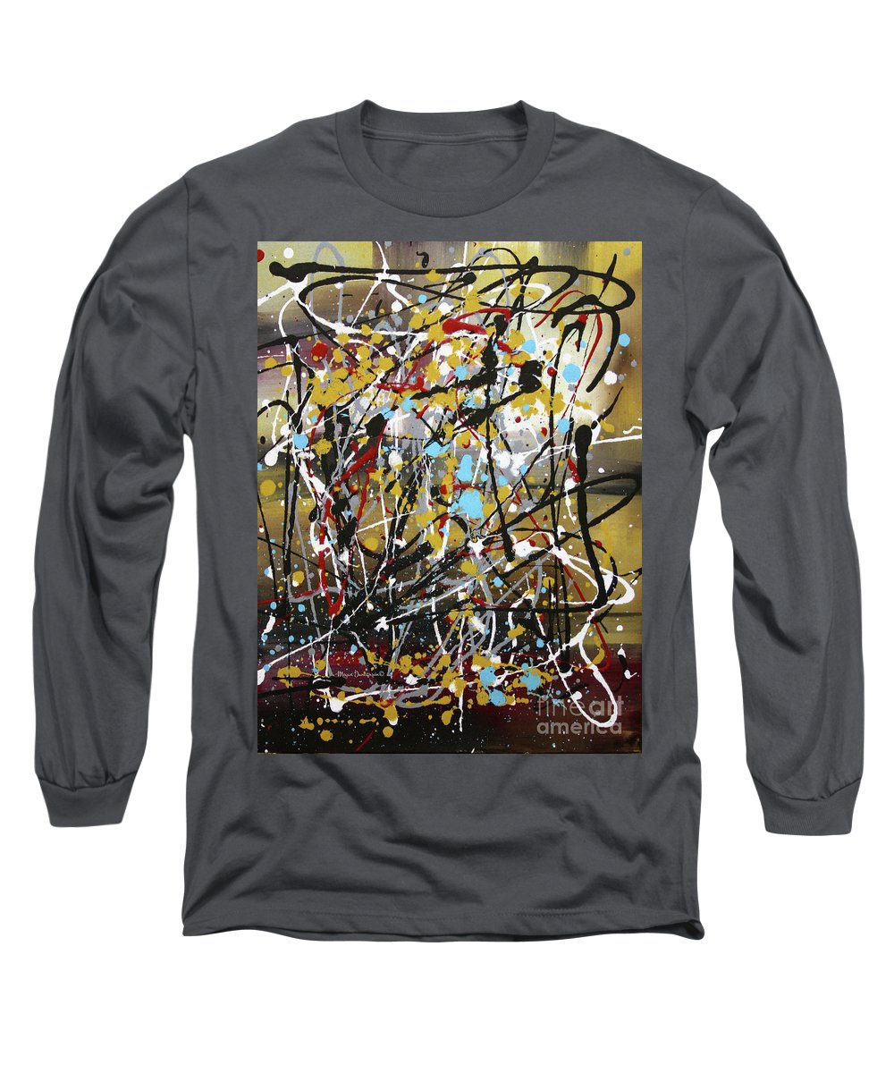Abstract Long Sleeve T-Shirt featuring the painting Abstract Original Art Contemporary Painting Energized I By Megan Duncanson by Megan Duncanson