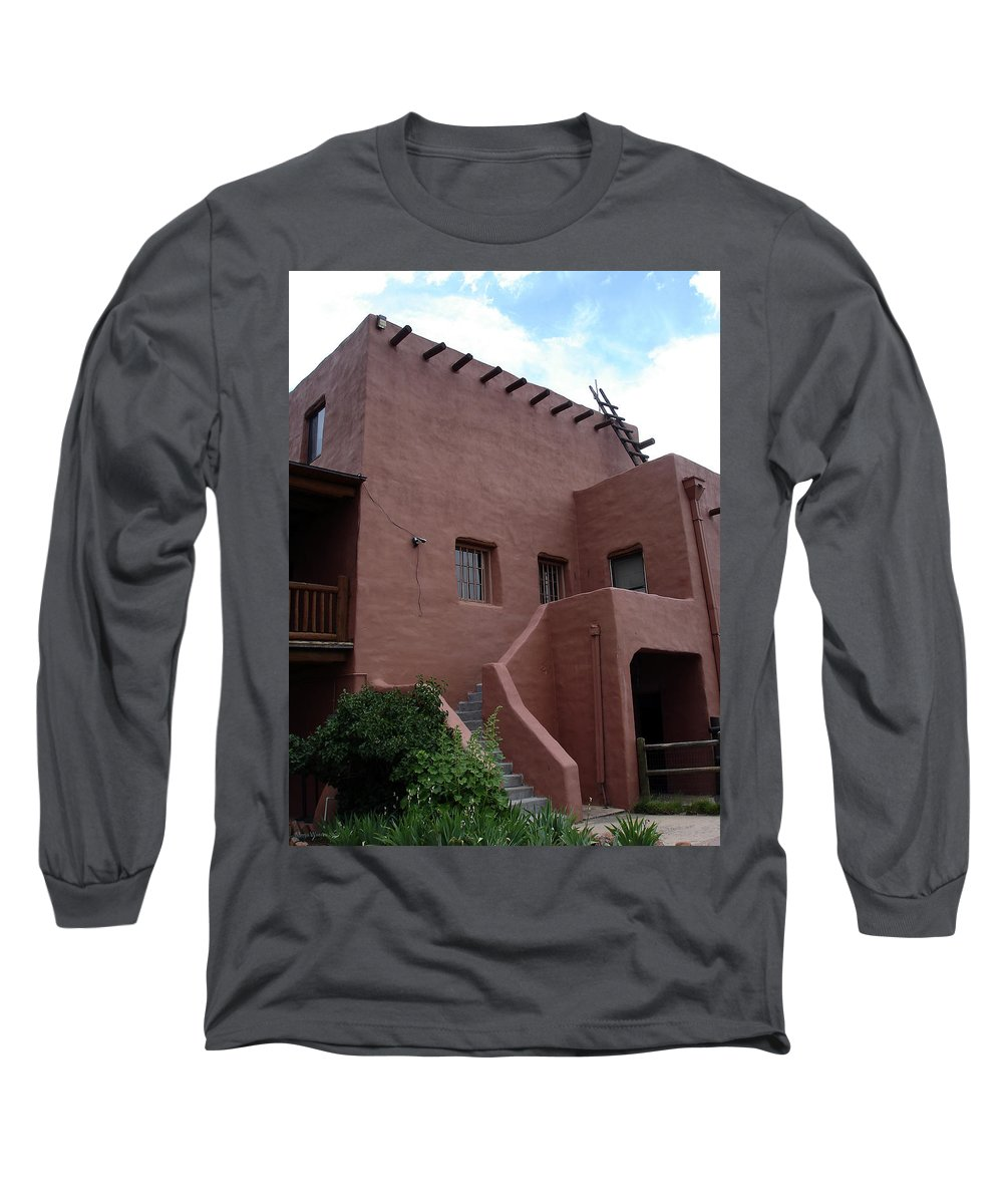 Santa Fe Long Sleeve T-Shirt featuring the photograph Adobe House At Red Rocks Colorado by Merja Waters