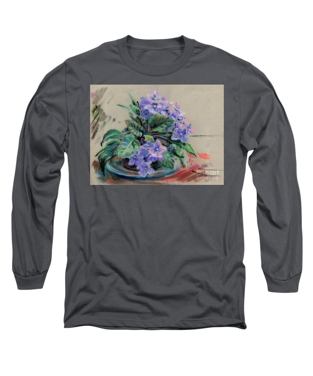 African Violets Long Sleeve T-Shirt featuring the drawing African Violet by Donald Maier