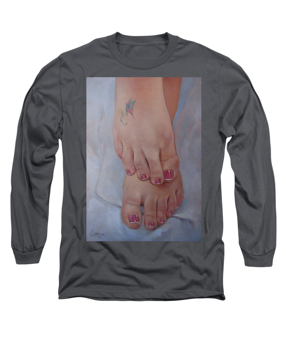 Pretty Feet Long Sleeve T-Shirt featuring the painting Aimee by Jerrold Carton