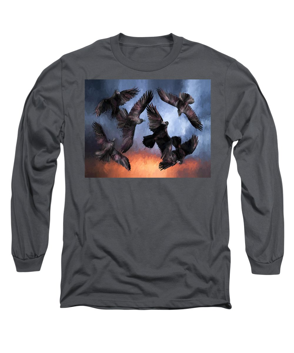 Fine Art Long Sleeve T-Shirt featuring the painting Airborne Unkindness by David Wagner