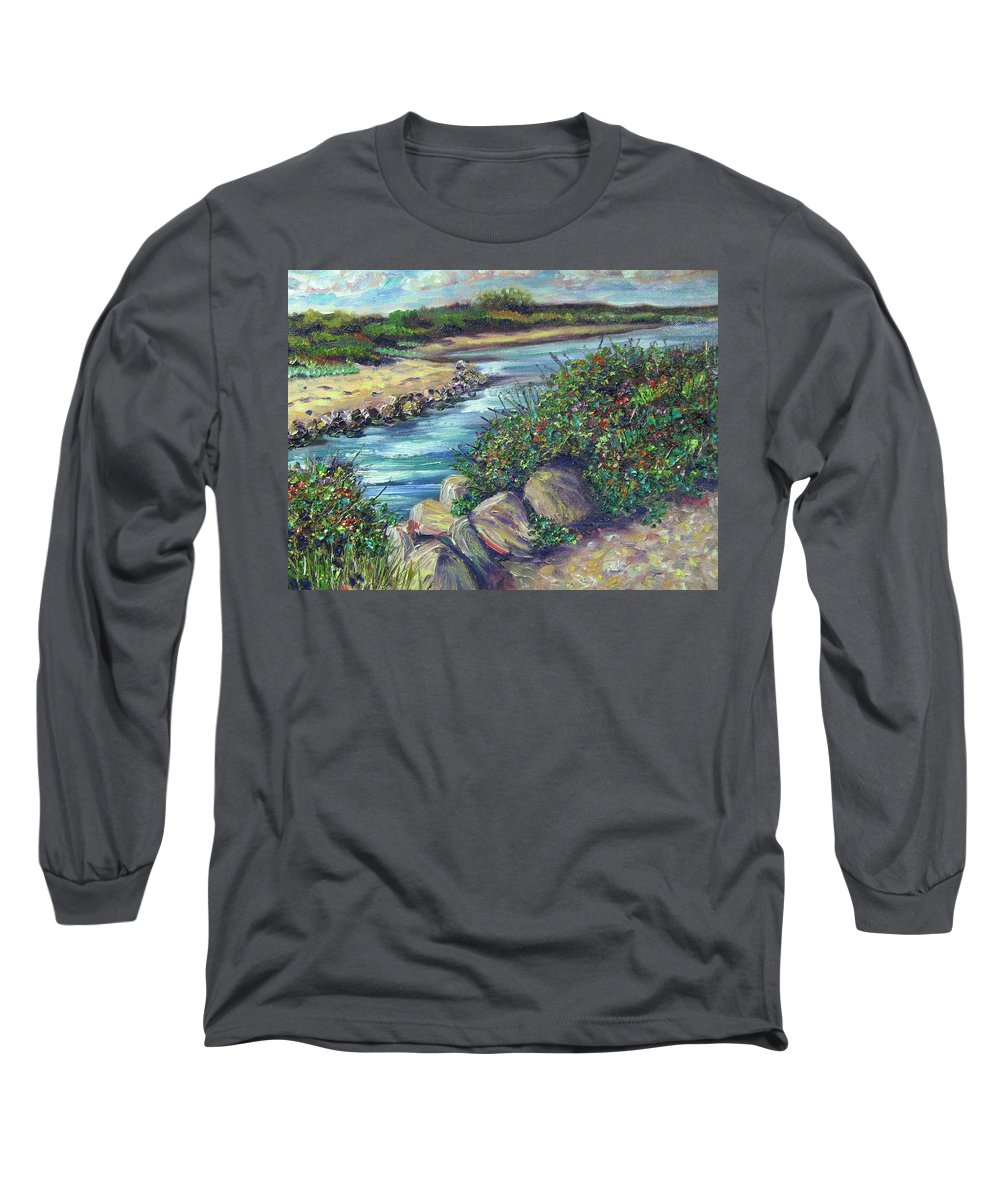 New England Long Sleeve T-Shirt featuring the painting Along The Connecticut Shore by Richard Nowak